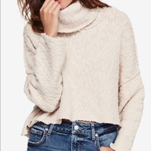 Free People Sweater Ivory Cowl Neck Crop Pullover